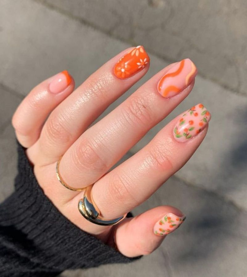 Orange Fall Nail Design Ideas