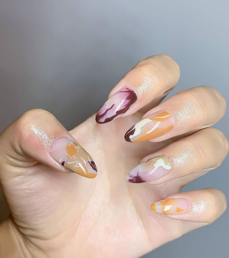 The perfect fall abstract nails colors