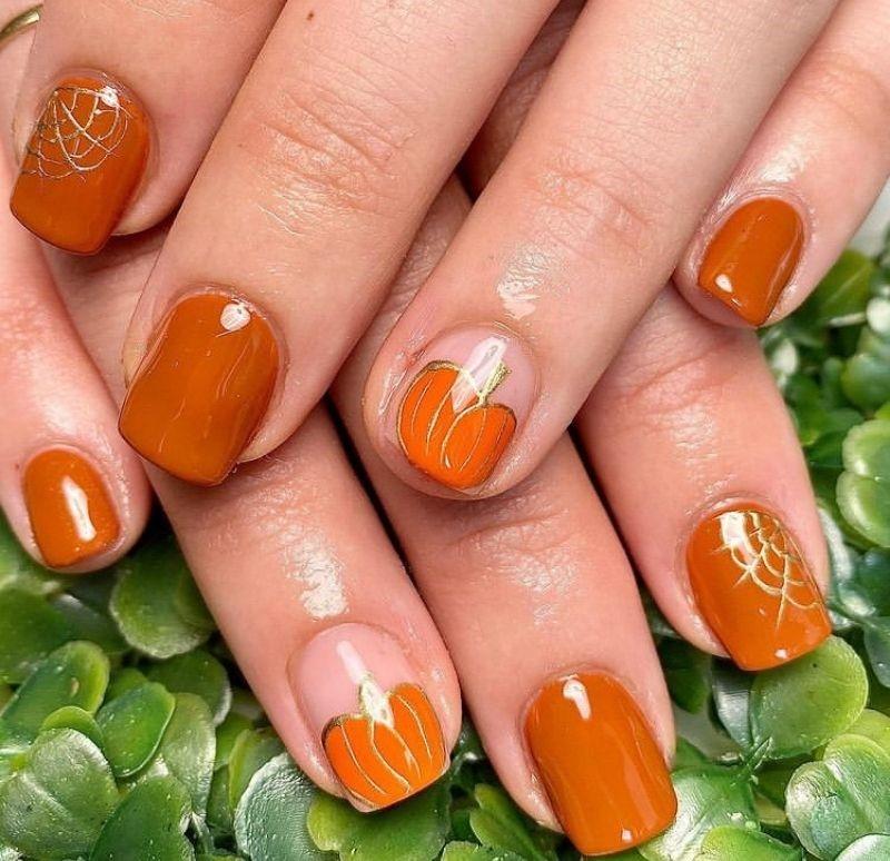Pumpkin as Cute Fall Nail Designs