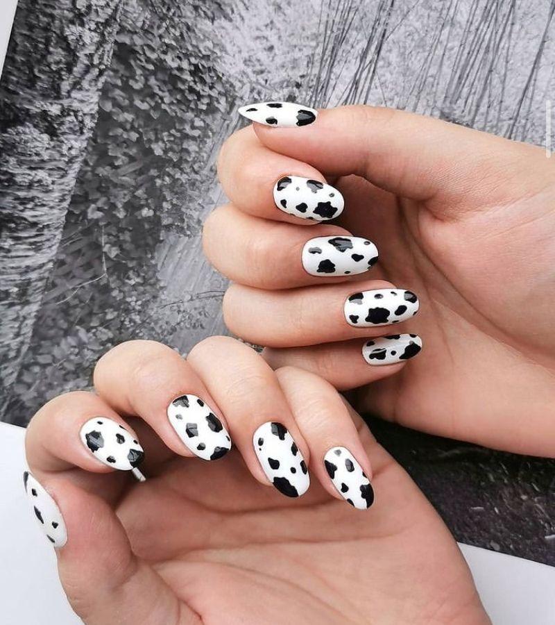 Cow Print Fall Nail Design Idea