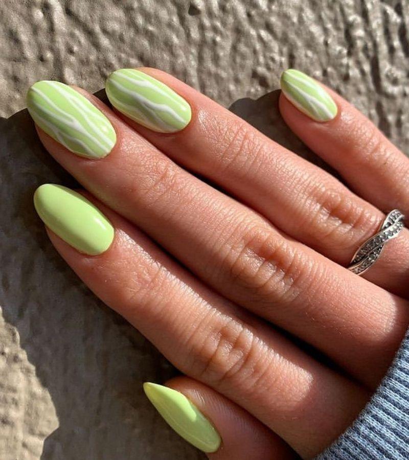 Nude Green as Cute Fall Nail Designs