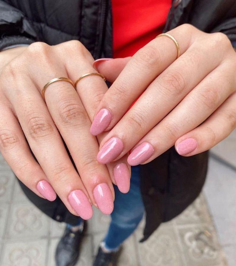 Baby Pink as Cute Fall Nail Design