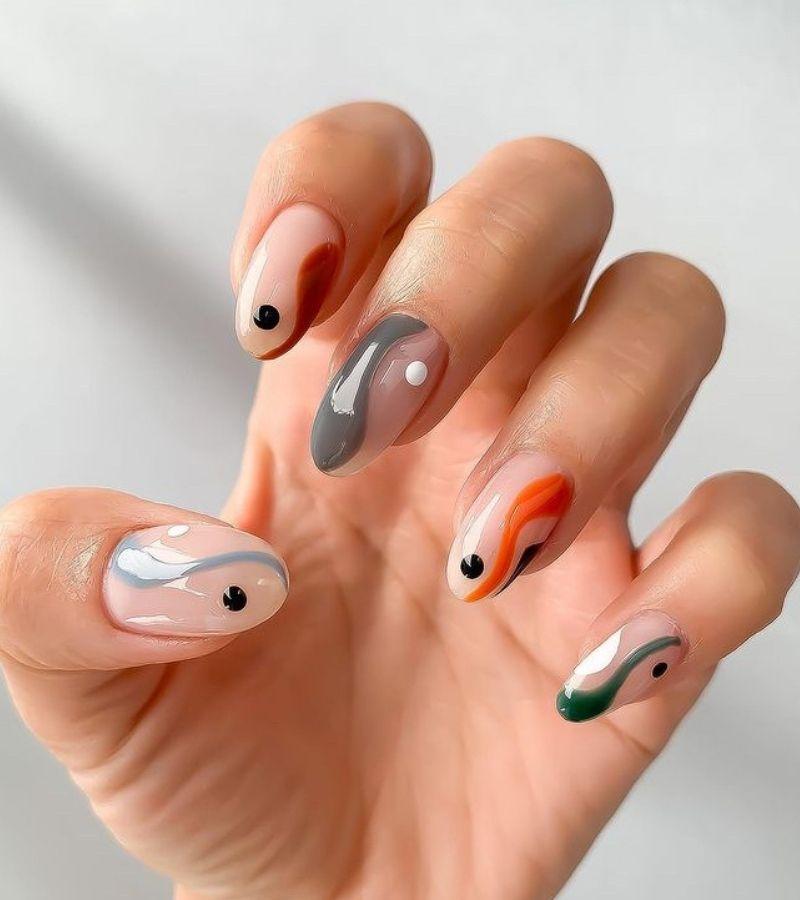 Yin Yang Winter Fall Nails