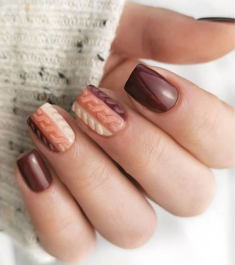 Sweater Weather as Fall Nail Design Ideas