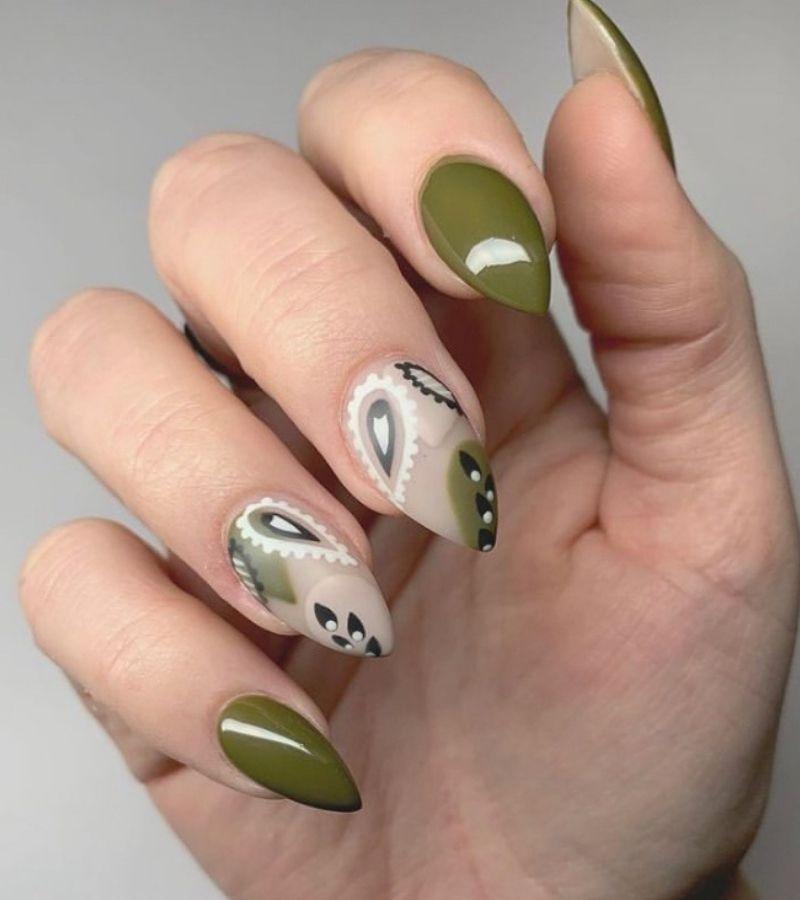 Olive Green Gloss as Fall Nail Color