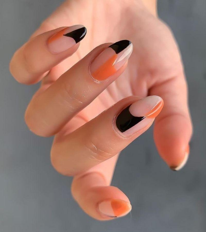 Orange and Black as Cute Fall Nail Design