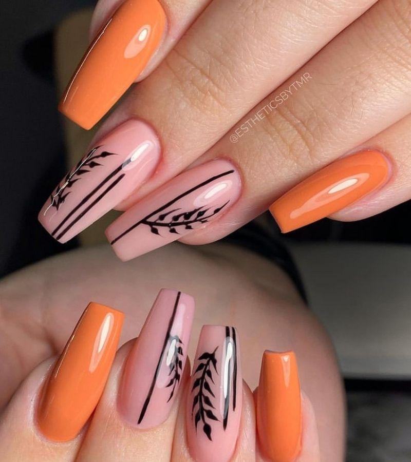 Pink and Orange Fall Nail Color