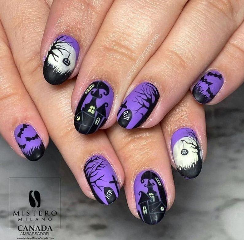Haunted Halloween as creepy nail art