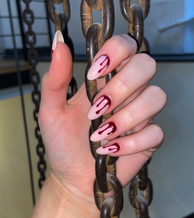 Blood Drip  as Creepy Nail Art